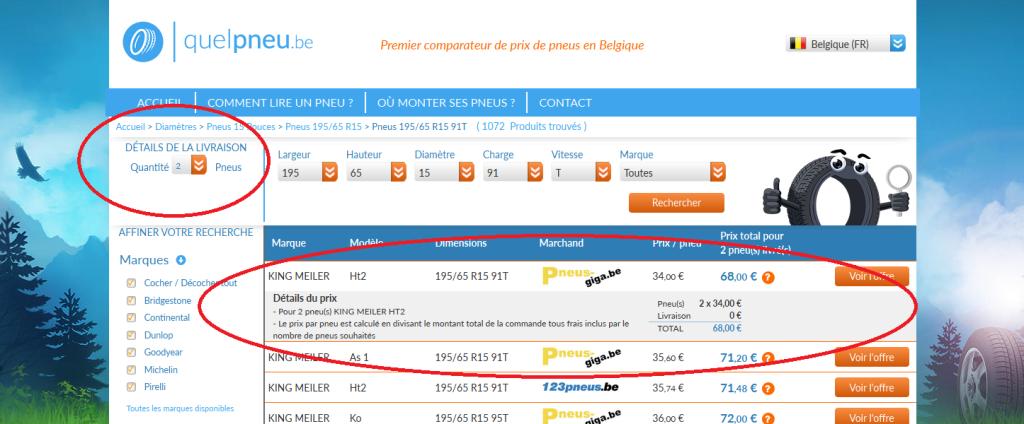 Le détail du prix total sur Quelpneu